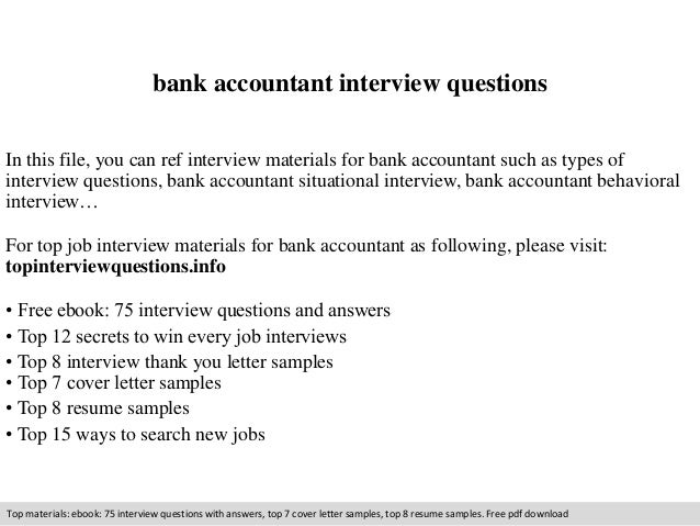 Bank accountant interview questions