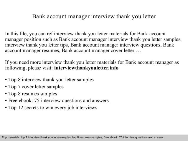 bank account manager interview thank you letter in this file you can ref interview thank