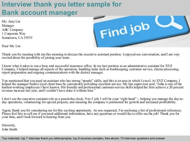 Bank account manager 2 interview thank you letter sample for bank account manager spiritdancerdesigns Gallery
