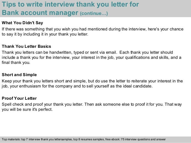 Bank account manager 4 tips to write interview thank you letter for bank account manager spiritdancerdesigns Gallery