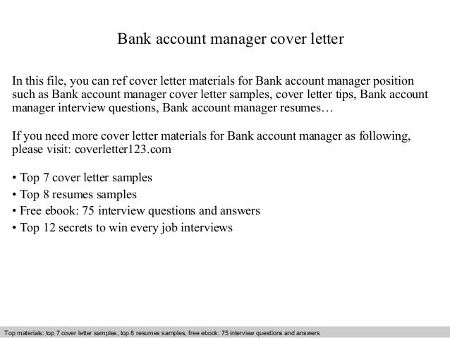 Exceptional Bank Account Manager Cover Letter In This File, You Can Ref Cover Letter  Materials For ...