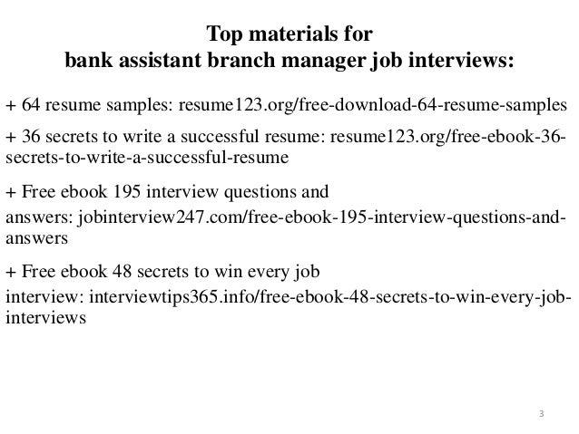 Bank Assistant Branch Manager Resume Sample Pdf Ebook Free Download