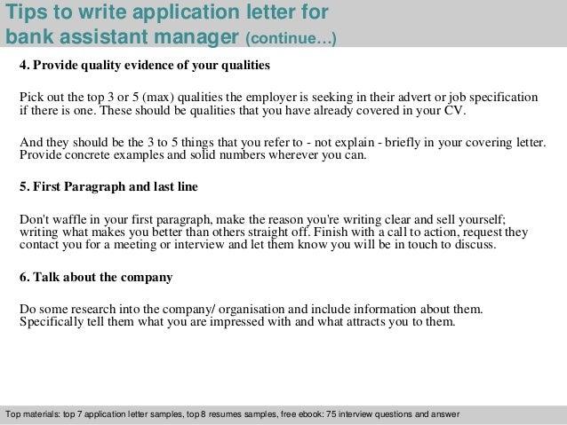 Bank assistant manager application letter