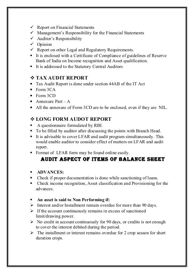 Bank audit slideshare statutory audit report it contains the following paragharhs 16 altavistaventures Image collections