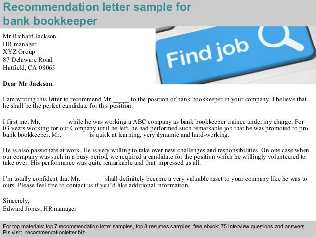bank bookkeeper recommendation letter