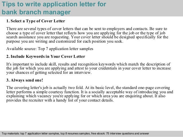Bank branch manager application letter