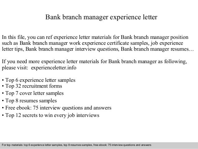 Bank Branch Manager Experience Letter In This File, You Can Ref Experience  Letter Materials For ...
