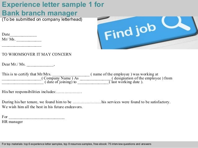 Bank branch manager experience letter experience letter sample yadclub Image collections