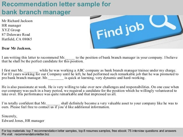bank branch manager recommendation letter