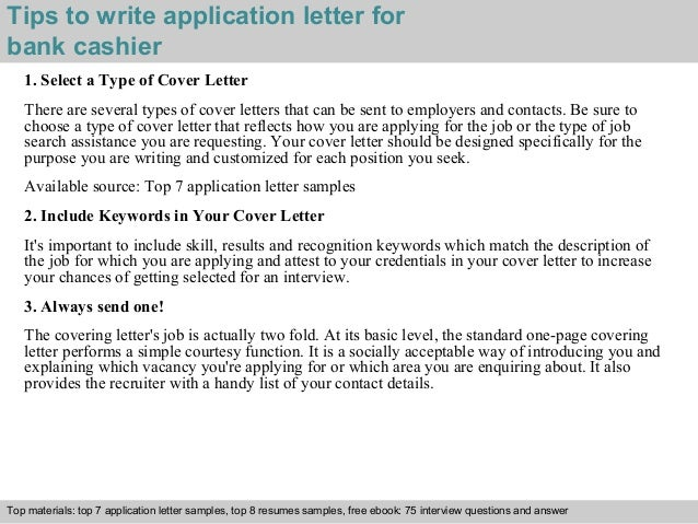 bank cashier application letter