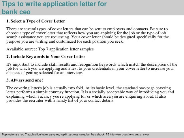 bank ceo application letter