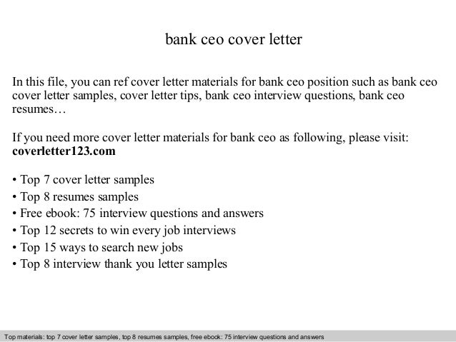 bank ceo cover letter in this file you can ref cover letter materials for bank cover letter sample