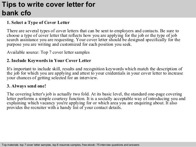 Bank cfo cover letter