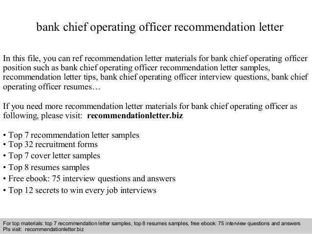Bank Chief Operating Officer Recommendation Letter