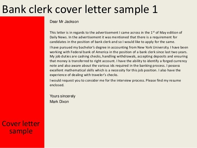 Bank clerk cover letter