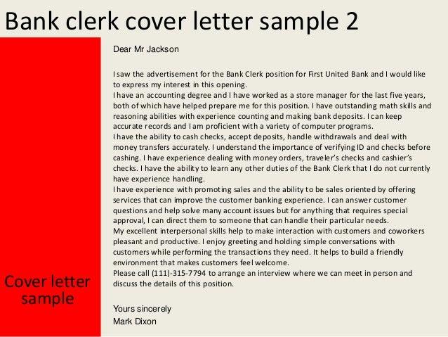 Bank clerk cover letter