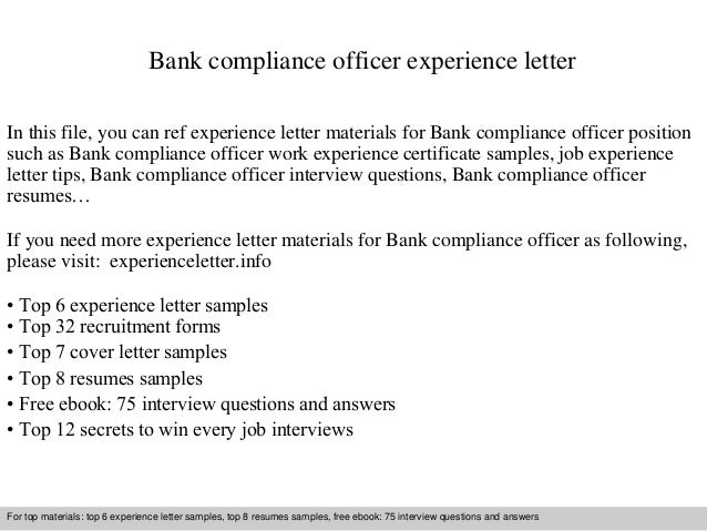 Bank Compliance Officer Experience Letter
