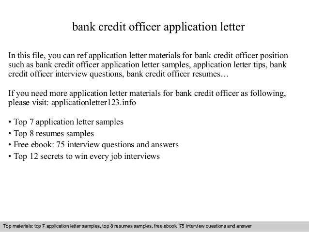 Bank credit officer application letter