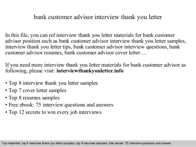 Bank customer advisor bank customer advisor interview thank you letter in this file you can ref interview thank expocarfo