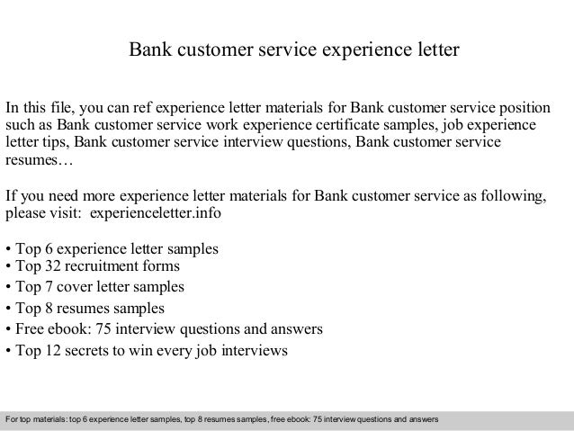 Bank Customer Service Experience Letter In This File You Can Ref Materials For