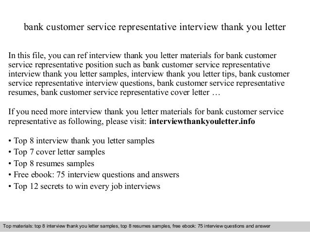 bank customer service representative interview thank you letter in this file you can ref interview - Cover Letter For Bank Customer Service Representative