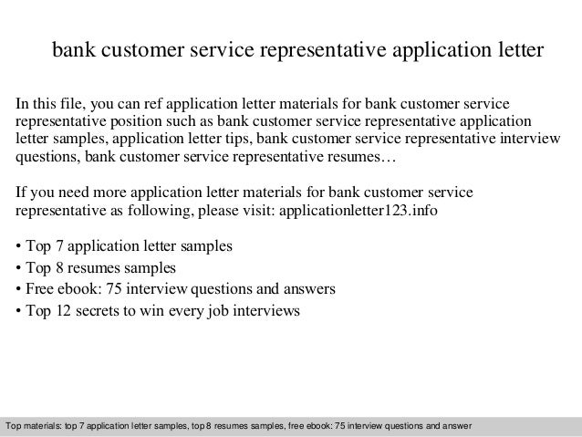 Bank customer service representative application letter