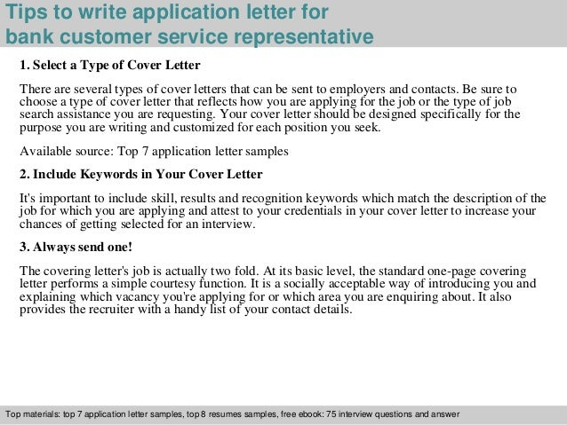 3 tips to write application letter for bank customer service representative - Cover Letter For Bank Customer Service Representative