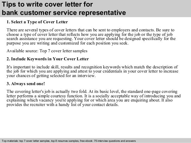 ... 3. Tips To Write Cover Letter For Bank Customer Service Representative  ...  Customer Service Representative Cover Letter