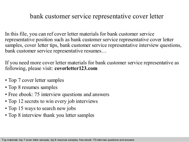 Bank Customer Service Representative Cover Letter In This File, You Can Ref Cover  Letter Materials Cover Letter Sample ...  Sample Cover Letter For Customer Service Representative