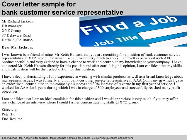 Cover Letter Sample For Bank Customer Service Representative ...  Customer Service Rep Cover Letter