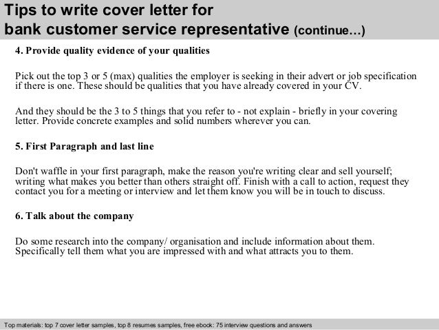 Bank customer service representative cover letter