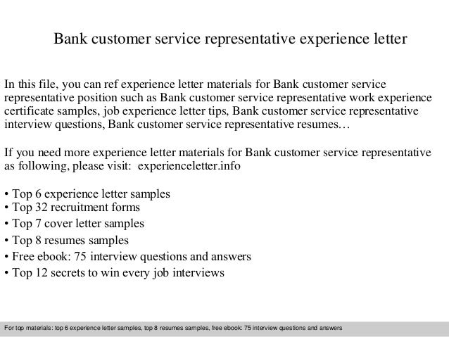 Bank Customer Service Representative Experience Letter In This File, You  Can Ref Experience Letter Materials ...
