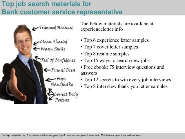 4 top job search materials for bank customer service representative. Resume Example. Resume CV Cover Letter