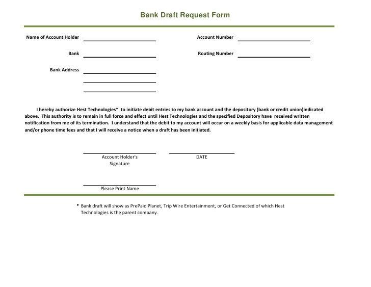 Bank draft form