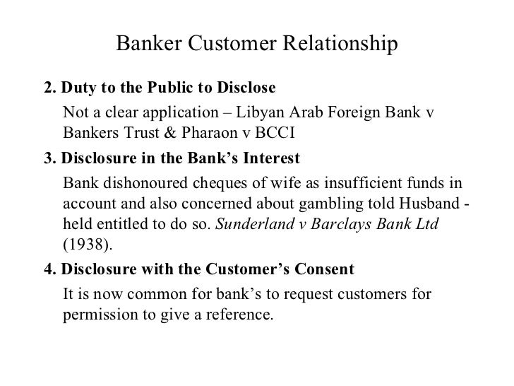 Banker and customer relationship