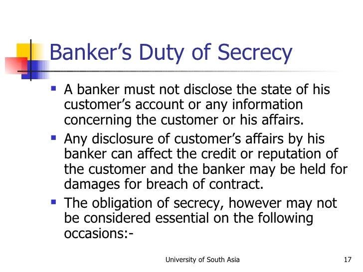 The breach of bank secrecy by