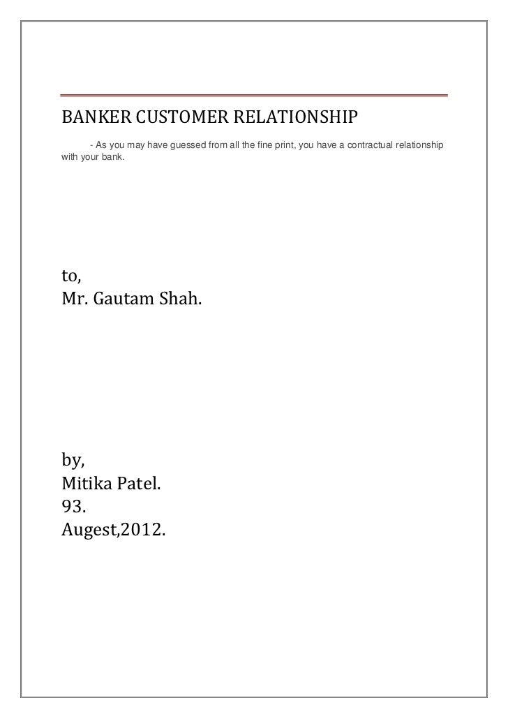 banker and customer relationship conclusion