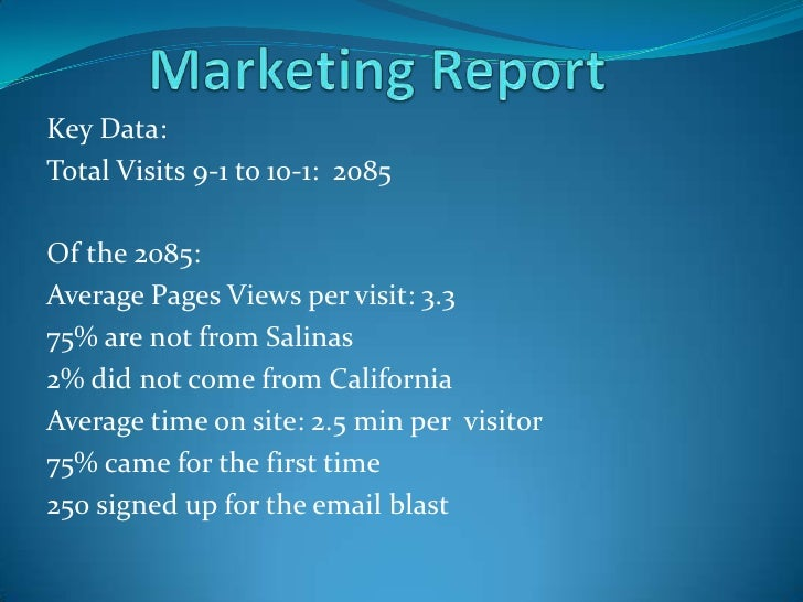 Marketing Report<br />Key Data:<br />Total Visits 9-1 to 10-1:  2085<br />Of the 2085:<br />Average Pages Views per visit:...