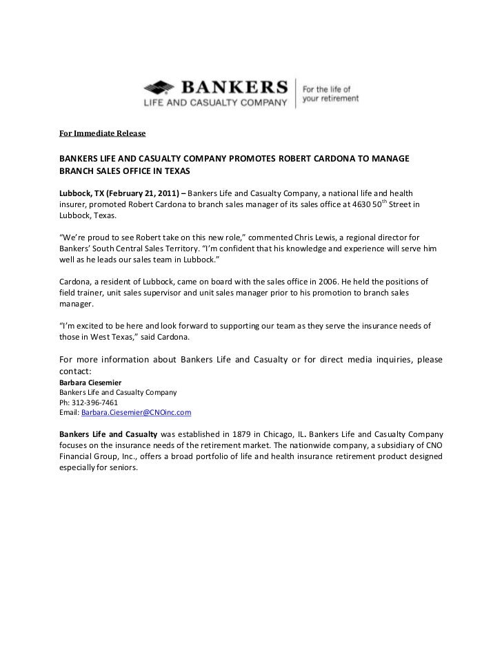 Bankers Life and Casualty Company Promotes Robert Cordona to Manage B…