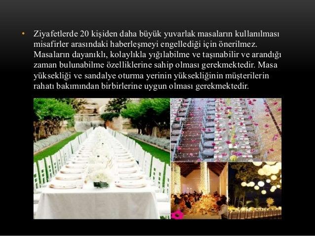 • Ziyafetlerde 20 kişiden daha büyük yuvarlak masaların kullanılması misafirler arasındaki haberleşmeyi engellediği için ö...