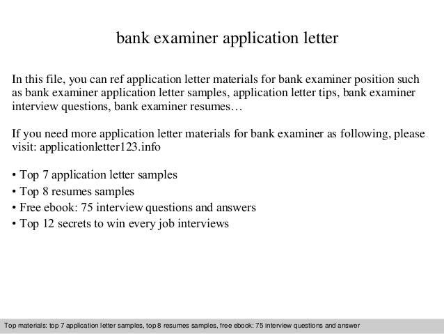 Bank examiner application letter