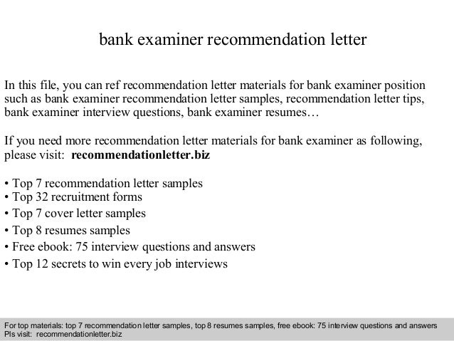 Bank examiner recommendation letter