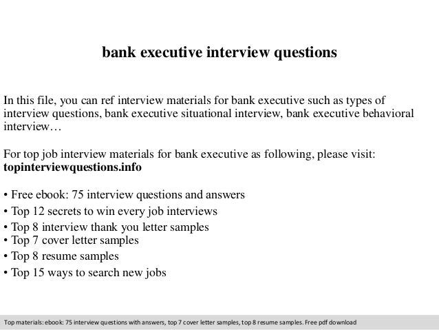 Bank executive interview questions