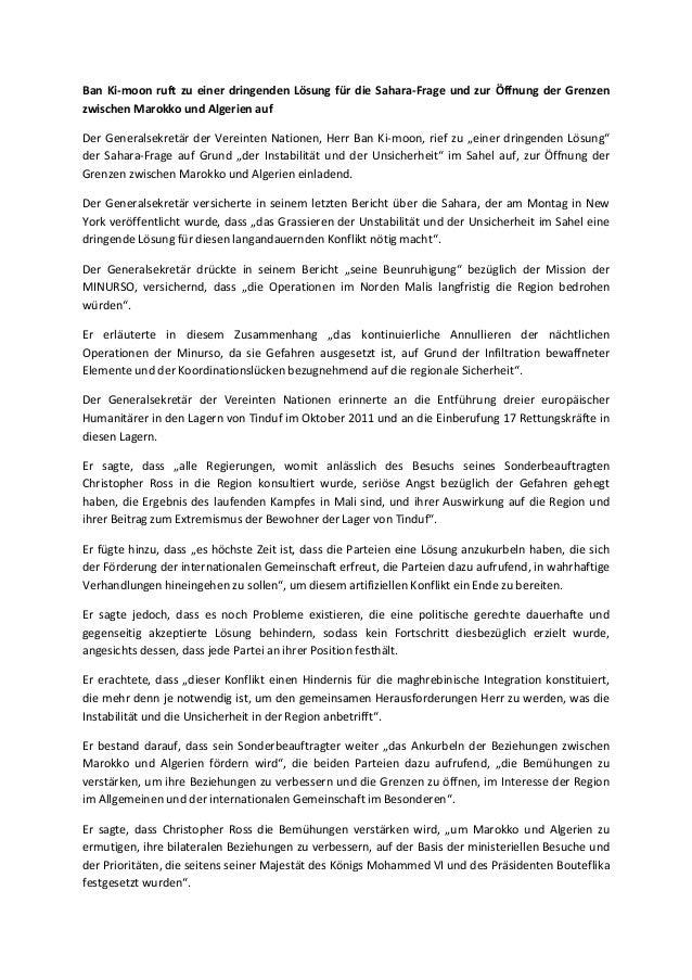 Ban Ki-moon ruft zu einer dringenden Lösung für die Sahara-Frage und zur Öffnung der Grenzenzwischen Marokko und Algerien ...