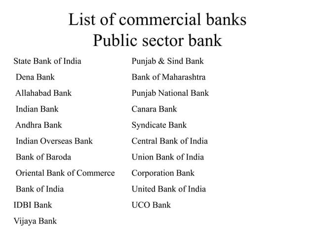 List of commercial banks Public sector bank State Bank of India Punjab & Sind Bank Dena Bank Bank of Maharashtra Allahabad...