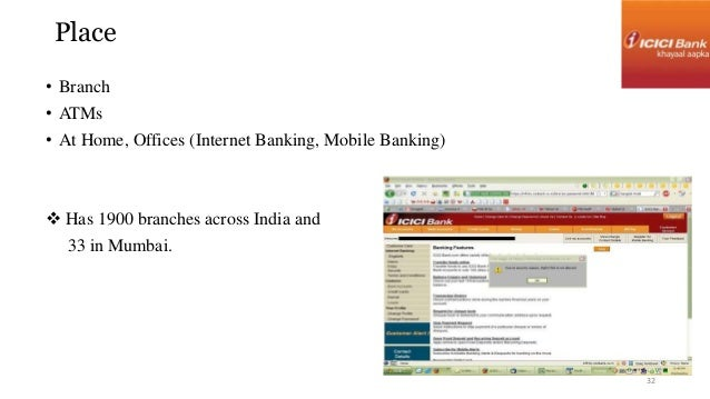 Place  • Branch  • ATMs  • At Home, Offices (Internet Banking, Mobile Banking)   Has 1900 branches across India and  33 i...