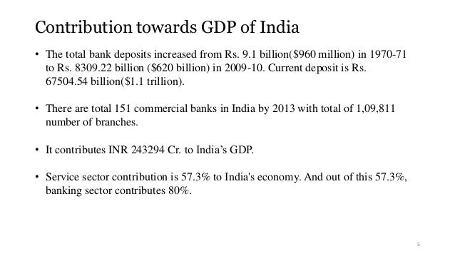 Contribution towards GDP of India  • The total bank deposits increased from Rs. 9.1 billion($960 million) in 1970-71  to R...