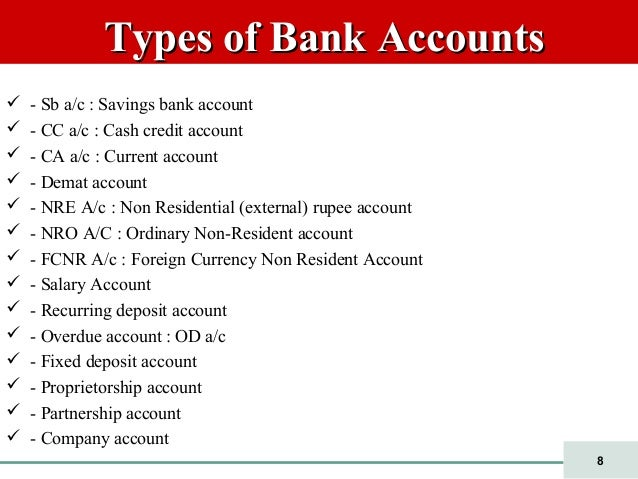 describe three types of bank accounts