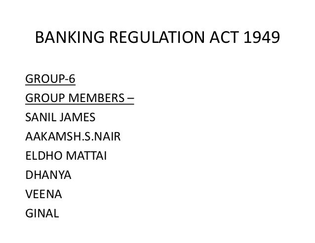 banking regulation act was passed in which year