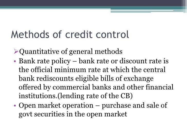 Role Of Credit Control Methods